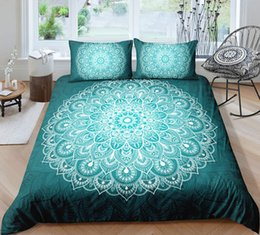 $enCountryForm.capitalKeyWord Australia - White and Green Bohemia Style Bedding Set King Size Big Flower 3D Duvet Cover Queen Home Dec Single Double Bedspread with Pillowcase