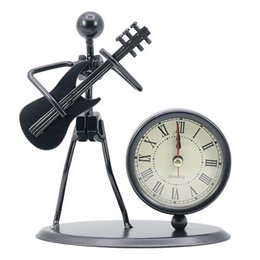 Wholesale European Retro office Table Bedroom Desk clock with Arabic Numbers Elecric Guitar