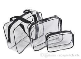 Blue Cosmetics Bag Australia - Travel clear PVC cosmetics organizer bag 3 pieces a set waterproof make up brushes storage zipper pouch