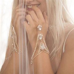 Wedding Rhinestone Hand Chain Australia - Aomu Gold silver Color Crystal Link Chain Lobster Bridal Bracelet &bangle Rhinestone Wedding Hand Slave Finger Jewelry C19022301