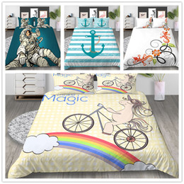 $enCountryForm.capitalKeyWord Australia - Unicorn Cartoon Comforter Bedding set Duvet Cover with Sheet Pillow 2 3pcs with Rainbow Beautiful scenery of Bedding Cover