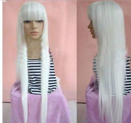 Long straight white wigs online shopping - New White Cosplay Fashion Long Straight Cos Wig cm
