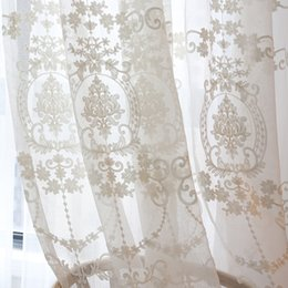 $enCountryForm.capitalKeyWord Australia - High-grade White Embroidery Flower Screens European Style Voile Tulle Sheer for Bedroom Living Room Windows Curtain Curtains