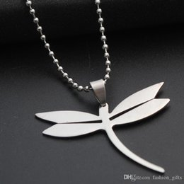 girl pendant steel Canada - 10pcs stainless steel flying dragonfly charm pendant necklace small insect animal beneficial insect necklace dragonfly girl sweater chain