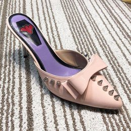 $enCountryForm.capitalKeyWord Australia - High quality design dress shoes pointed half slippers pointed fashion high heels slippers summer wear bow tie paint sandals with original qr