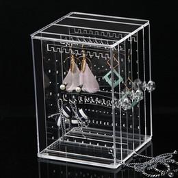 Mode Effacer Boucle D'oreille Rack Boîte De Rangement Bijoux Oreille Stud Cas Boucle D'oreille Titulaire Affichage Bijoux Pendentifs Boîte Organisateur Q190430