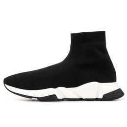 best mens slip on boots Australia - 2020 Best Quality Speed Trainer Black Sneakers Mens Womens Black Red Casual Shoes Fashion Socks Sneaker Top Boots EUR 36-45
