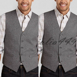 ac5d110282a Vintage Grey Wool Tweed Vests Slim Mens Suit Vest Custom Made Prom Tuxedo Vest  Men Wedding Waistcoat Mens Dress Vests Groom Vest