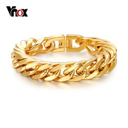$enCountryForm.capitalKeyWord NZ - Vnox Mens Chain Link Bracelet 15mm Wide Stainless Steel Wrist Band Hand Gold Color Bracelet Male Jewelry Gift Pulseira Y19051002