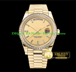 Wholesale Basel World Super Factory Men watch V2 version movement mm Day Date Ref in Yellow Gold Diamond New Style Strap Diamond bezel