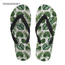 fc61c35d4 Twoheartsgirl Green Tropical Palm Leaves Pattern Flip Flops for Men Casual  Summer Beach Slippers Personalized Male Flat Flipflop
