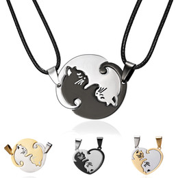 couple pendants gold Australia - Fashion Black Silver Cat Couples Love Heart Necklace Men Womens Gold Plated Stainless Steel Pendant Necklace Valentine's Day Gifts 2pcs set