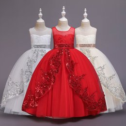 baby sequin bow NZ - Baby girl dress lace sequin princess dress wedding girl catwalk show fluffy mesh flower