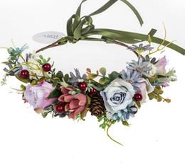 $enCountryForm.capitalKeyWord Australia - INS Children wreath handmade Girls simulation berries flowers crown children ribbon lace-up Bows headbands kids princess garlands F8284