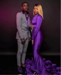 Mermaid Nude Crystal Australia - 2019 Purple Mermaid Evening Dresses 2019 Crystal Beading Long Sleeve Sweep Train High Neck Formal Party Gowns vestidos de fiesta