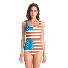 women bikini american flag swimwear NZ - 2019 3D Prints American Flag Swimsuit Women One Piece Swimwear Monokini Bodysuit Swimming Bathing Suit Bikinis Mujer biquini
