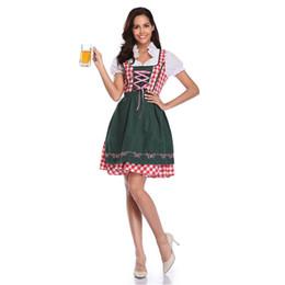 Bavarian costume women online shopping - Ladies Sexy Oktoberfest Beer Girl Costume German Bavarian Beer Maid Wench Fancy Dress Short Sleeve Dirndl For Adult Women