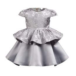 Short Formal Wedding Dress NZ - Girls Wedding Dress 2019 New Kid Girl Grey Clothes Summer Lace Pageant Party Dresses Princess Formal Prom Birthday Gift Clothes