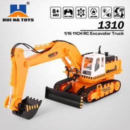 excavators toys Australia - HUINA TOYS 1310 1 16 11CH RC Excavator Truck Engineering Construction Car Remote Control Vehicle with 680' rotation Light HOT