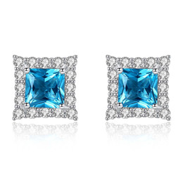 $enCountryForm.capitalKeyWord NZ - Fashion Europe Jewelry Earring For Women Sparkly Blue Crystal Stud Earring Ladies Princess Cut Earrings Luxury Evening Prom Party Earrings