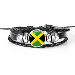 Chinese  2019 New Multilayer Leather Rope Beaded Bracelet Silver Glass Cabochon Jamaica National Flag World Cup Football Fan Male Female Jewelry Gift manufacturers
