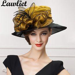 55fd0aaf461 Lawliet luxury Women Fascinators Organza Bow Sun Hats Gold Gray Wide Brim  Lady Kentucky Derby Race Wedding Hats Bride Mom s Hat D19011103