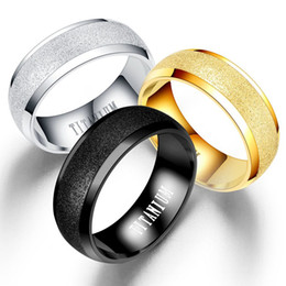 rings china 2019 - Stainless Steel Frosted Ring Blank Gold Dull Polish Rings Wedding Designer Rings Men Women Fashion Jewelry Will and Sand