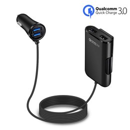 $enCountryForm.capitalKeyWord NZ - QC 3.0 Quick Charge 4 USB Ports Car Charger With 1.7M Long Cable Back Clip Vehicle Charge Adapter for iphone X XS MAX, iPad,Tablets,