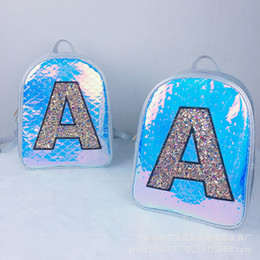 Bags Fish Scale Australia - 2019 new Hologram laser Fish scale small backpack travel women luxury glitter Sequin Letter A school bag for teenger girls M1362