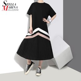 black women dress styles NZ - New 2019 Summer Women Black Blue Long Pleated Dress Striped Short Sleeve Plus Size Lady Cute Casual Dress Robe Femme Style 3412 Y19052803