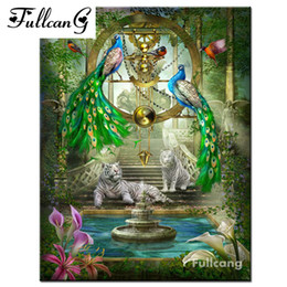 DiamonD painting peacock online shopping - FULLCANG d diamond painting mosaic peacock tigers full rhinestone cross stitch square diamond embroidery animals painting E1387