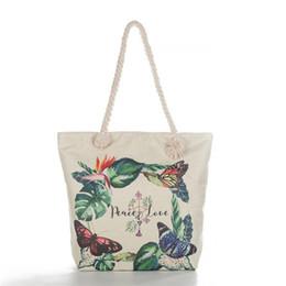 Gute qualität Schmetterling Druck Große Kapazität Frauen Handtasche Wilde Sommer Strandtasche Sailor Rope Design Leinwand Einkaufstasche Frau