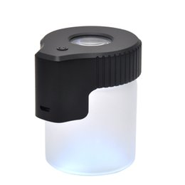 tight light 2019 - New Arrive Plastic Glass Light-Up LED Air Tight Proof Storage Magnifying Jar Viewing Container 155ML Multi-Use Plastic P