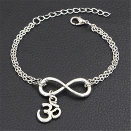 $enCountryForm.capitalKeyWord Australia - Original Silver Double Infinity Love Buddhist 3D Ohm Aum Yoga OM Symbol Pendant Charm Bracelets For Women Men Link Chain Brand Jewelry Gifts