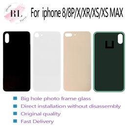 Ingrosso Per iPhone 8 8 più X XS MAX vetro batteria di ricambio di vetro posteriore alloggiamento della copertura posteriore grande foro della fotocamera No smontaggio con adesivi