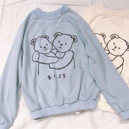 LoveLy korean cartoon girL online shopping - Japanese Kawaii Women Hoodies Femme Pullover Korean Cute Cartoon Printed s Clothes Soft Sister Lovely Bear Girl Sweatshirts SH190913