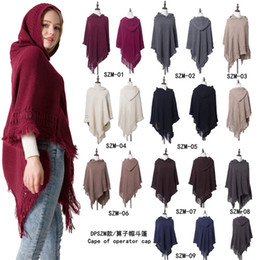 Wholesale plain color sweaters resale online - Winter Knit Large Shawls Plain Color Charm Tassel Blankets Cape Casual Lady Sweater With Hat Factory Direct jh E1