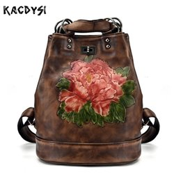 real laptops 2019 - Manual Real Cow Leather Retro Women Backpack Brush Color Fahsion Laptop Notebook Backpack Flower Pattern Girl Travel Sat