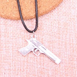 Browning Pendant China Australia - New Durable Black Faux Leather Antique Silver 45*20mm gun browning pistol Pendant Leather Chain Necklace Vintage Jewelry Dropshipping
