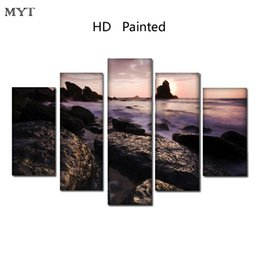 Canvas Prints Free Shipping Australia - Free shipping HD Printed 5 Pieces High Quality Large size Canvas beautiful painting seaside stones scenery Wall Art pictures Home Decor