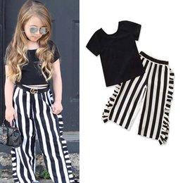 Best Wholesale T Shirts Australia - Boutique Girls Outfits 2019 new Fashion Summer Black T shirt+Wide-legged pants 2pcs Children set kids clothing kids clothes Best Suits A1735