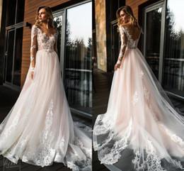$enCountryForm.capitalKeyWord Australia - 2019 Gorgeous Sheer Long Sleeves Lace Wedding Dresses A Line Tulle Wedding Bridal Gowns Summer Beach Cheap Custom Made plus size