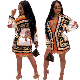 long sleeve african print dresses Australia - Designer Women Clothes New Style Classic African Womens Vintage Dress Fashion Printed Lapel Neck Buttons Long Sleeve Shirt Dresses