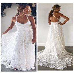 $enCountryForm.capitalKeyWord Australia - 2019 Sexy Lace Applique A-Line Wedding Dresses Robe De Mariee Halter Neck Backless Sweep Train Bride Dress