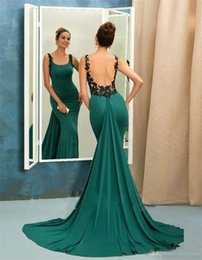 EmErald grEEn backlEss mErmaid drEss online shopping - Emerald Green Mermaid Evening Dresses Scoop Sleeveless Backless Arabic Sweep Train Prom Dresses Party Gown