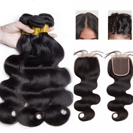 Discount weaves for african hair - Uniqueme Brazilian Virgin Human Hair Bundles With 4*4 Lace Closure Brazilian Body Wave Human Hair Weave Extension For Am