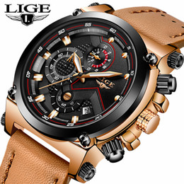 top fashion luxury watches Australia - LIGE Fashion Mens Watches Top Brand Luxury Casual Sport Quartz Watch Men Leather Waterproof Military Wristwatch Relogio Masculio SH190929