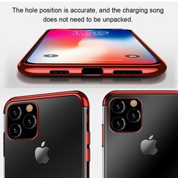 pro plates NZ - Luxury Case For iPhone 11 Pro 11 Pro XsMax Ultra Thin Crystal Rubber Plating Frame TPU Case Silicone Cover Coque