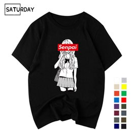 Manga Clothes Australia - Men's Senpai Anime Girl Nerdy Cotton Black Print T-shirt Women Manga Streetwear Tee Cotton Tshirt Unisex Harajuku Clothes
