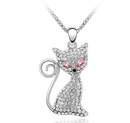$enCountryForm.capitalKeyWord Australia - Free shipping fashion jewelry Ornaments Using Swarovski Elements Crystal Necklace Electric eye cat Set in drill personality Pendant